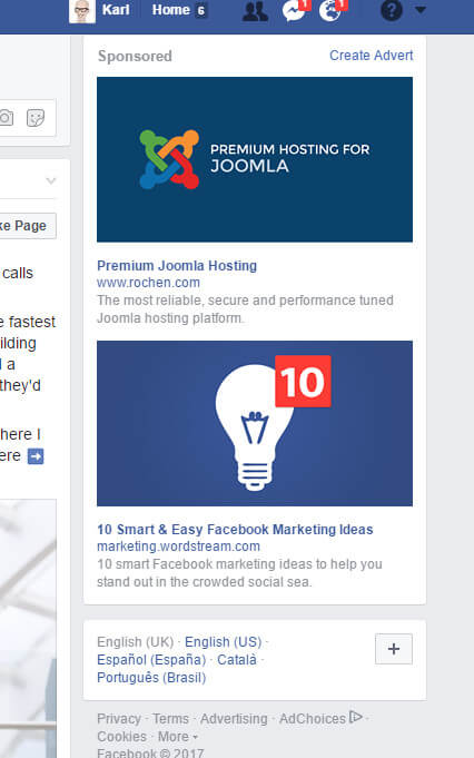 PPC targeted marketing Facebook ads